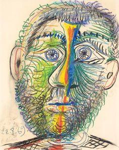 Pablo Picasso, 1969 Tête d'homme 6 on ArtStack #pablo-picasso #art