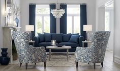 Blue is the hottest color in home decor. See our ideas for blue furniture and other home furnishings. Blue Couch Living Room, Blue And White Living Room, Navy Blue Living Room, Blue Rooms, Formal Living Rooms, Living Room Grey, Living Room Chairs, Home Living Room, Navy Blue Sofa