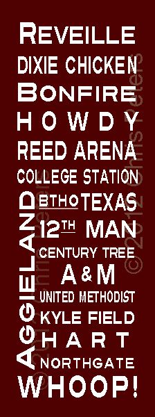 Whoop Texas Aggies fan sign 16x48 gallery wrapped canvas by Subway-Sign.com - customize