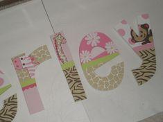 Jungle Jill - nursery letters - custom - hand painted - monkey, giraffe, elephant, zebra on Etsy, $12.00