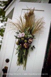 Fall door decor - wheat arrangement