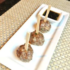 Asian Meatballs with Lime Sesame Dipping sauce #recipe