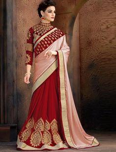 Maroon & Pink Saree With Maroon Designer Blouse $85.98 For Order whtsap at 9891498576/9599545611 #maroon #pink #maroon #designer #blouse #saree #sari #indian #online #shopping #wedding #partywear #womenswear #fashionumang