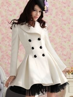 Ladylike Casual Lapel Long Sleeve Blended Overcoat Overcoats from fashionmia.com