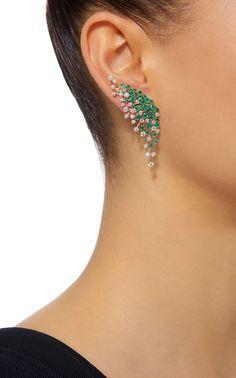 Hueb Luminous 18K Yellow Gold, Diamond and Emerald Earrings