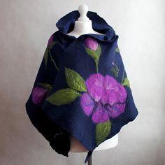 Felted flower scarf nuno shawl navy blue purple green by EsartFelt