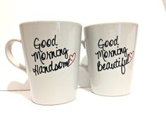 Start Valentine's Day right with matching coffee mugs. Just need a sharpie and a plain white mug! Cute Gifts, Diy Gifts, Saint Valentin Diy, Good Morning Handsome, Latte Mugs, Coffee Mugs, Drink Coffee, Coffee Time, Unique Wedding Gifts