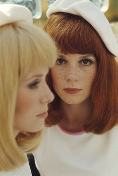 Françoise Dorléac and Catherine Deneuve, wearing slit gowns in a scene for the film Les Demoiselles de Rochefort directed by Jacques Demy, France, 1966, by Hélène Jeanbrau