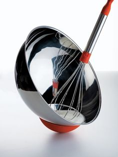 """""""Cul-de-Poule"""" mixing bowl with whisk by Matali Crasset for Alessi."""