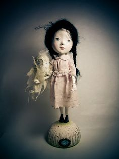 'Polkas and Cream Owl with feathers' Art Doll by Paola Zakimi