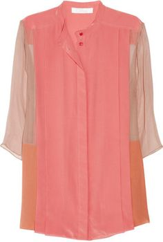 ShopStyle: Chloé Color-block silk-crepe and georgette blouse
