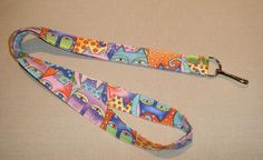 Laurel Burch cats pastels   handmade fabric by doodlebugquilts (Accessories, Lanyard, Id, keychain, fabric, handmade, women, cats, laurel burch, pale, pastels, badge, keys)