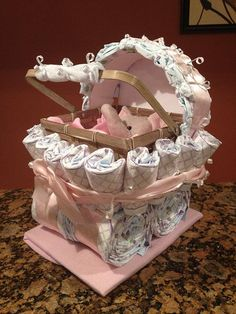 Girl Diaper Carriage Custom Made Baby Shower by JocelynsCreations