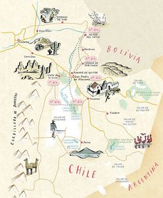 Chile, north east corner map, by Nik Neves Travel Maps, Travel Posters, Travel Photos, Mental Map, Map Maker, Map Globe, Country Maps, South America Travel, America City