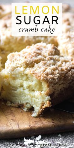 dessert recipes Lemon Sugar Crumb Cake is a mile high coffee cake with a delicate fresh lemon flavor, it's made with my special lemon infused sugar! Lemon Desserts, Mini Desserts, Just Desserts, Delicious Desserts, Lemon Curd Dessert, Health Desserts, Tea Cakes, Food Cakes, Cupcake Cakes