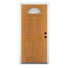 Therma Tru Benchmark Doors Willowbrook 4 Panel Insulating Core Fan Lite Left  Hand Inswing Medium Oak Fiberglass Stained