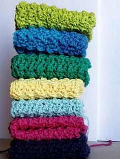Bright crocheted washcloths