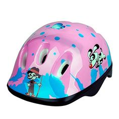 KuyouKids Children Girls Bike Cycling Protective Scooter Skate Roller Safety Helmets Suitable 38 Years OldCartoon pink and purple -- Click on the image for additional details. (Note:Amazon affiliate link)