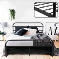 Coavas Double Bed Frame 6 Solid Bed Frame with 2 Headboard Metal Bed Frame Black fit 135 * 190 Matress For Adults, Teenagers Bed Decor, Black Bedding, Ikea Bed, Black Bedroom Furniture, Black Metal Bed, Full Metal Bed Frame, Black Bed Frame, Black Wood Bed, Ikea Bed Frames