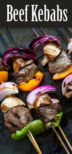 What's a summer grill without beef kebabs? Top sirloin chunks marinated in soy sauce garlic ginger olive oil marinade grilled with onions mushrooms bell peppers. Easy Delicious Recipes, Healthy Soup Recipes, Beef Recipes, Salad Recipes, Cooking Recipes, Tasty, Healthy Salads, Easy Recipes, Kebabs On The Grill