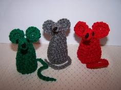 Crochet Mice - would be great as finger puppets!