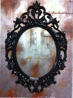 Hey, I found this really awesome Etsy listing at https://www.etsy.com/listing/219910294/gloss-black-skulls-oval-picture-frame