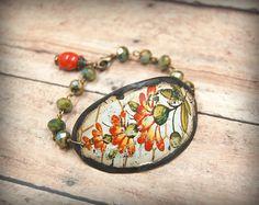Recycled Tin Bracelet, Bohemian Beaded Bracelet, Gypsy, Rustic, Primitive Jewelry, Vintage Tin Jewelry