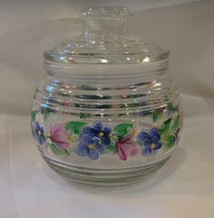 Hand Painted Glass Container Jar Pink Roses by bunnyhutchdesigns, $10.00