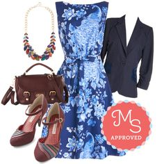 In this outfit: Alluring Acres Dress in Peacock, Spotted on the Street Blazer, Berry Good Harvest Necklace in Bright, Take a Sweet Bag, Harvest Display Heel #peacock #floral #spring #summer #ModCloth #ModStylist #fashion #outfits #ootd #cute #dresses #shoes #colorful