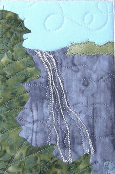 Falling Water Landscape Quilted Fabric Postcard Art by SewUpscale, $15.00