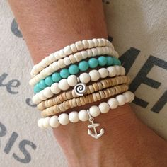 Anchor bracelet, sterling silver nautical bracelet, coastal style accessory, beach jewelry, beachcomber wooden beaded bracelet