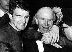 Munich survivors Bill Foulkes and Sir Matt Busby after winning the European Cup in 1968