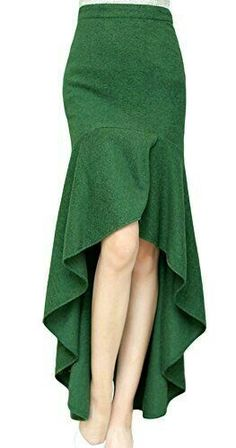 AvaCostume Women& Irregular Lotus Leaf Mermaid Fish Tail Long Skirt, M, Green Skirt Outfits, Dress Skirt, The Dress, Midi Skirt, Mode Glamour, Mode Inspiration, Mode Style, Dress Patterns, African Fashion