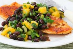 Roasted Tilapia with Black Bean, Mango, Lime and Cilantro Salsa