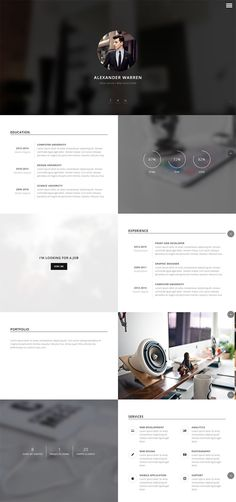 one page personal vCard wordpress theme with clean responsive design #wordpress #resume