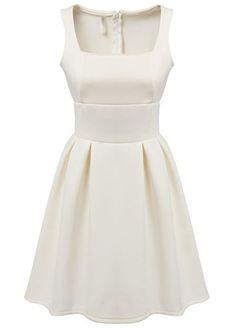 Fashion Sleeveless Square Collar Zipper Closure Dress - White