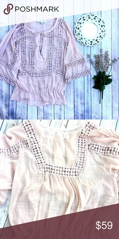 Anthropologie Daniel Rainn Blouse Beautiful pale dusty rose color. Chiffon like material with Embroidered inserts. Gathered elastic at waist. Ties at neckline. Anthropologie Tops Blouses