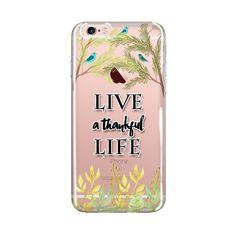 iPhone Case Bible Verse , Live A Thankful Life, ClearTransparent Phone Case, Flower Design Art, iPhone Case 6/6s 6splus/6plus, Inspirational iPhone Case
