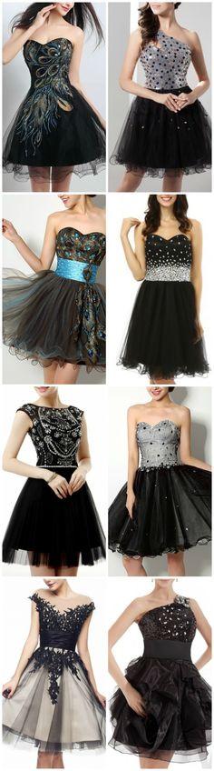 Shop GemGrace for little black dresses, sexy  mini black prom dresses, short sparkling black homecoming dresses, black cocktail dresses, and black semi formal dresses.