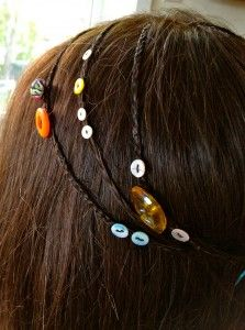 Antique buttons in hair - how to