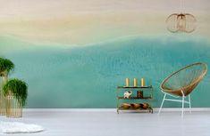 Island Life Ocean Beach Wallpaper Mural by Melissa Renee fieryfordeepblue Art & Design seen at Creator's Studio, Helsinki | Wescover Accent Wallpaper, Beach Wallpaper, Perfect Wallpaper, More Wallpaper, Creator Studio, Wall Installation, Island Life, Ocean Beach, New Artists