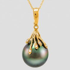 Maison d'enchères en ligne Catawiki: 14kt yellow gold pendant with Genuine Tahitian black pearl 14.5 x 16.5 mm and 0.03 ct Diamond **no reserve price**