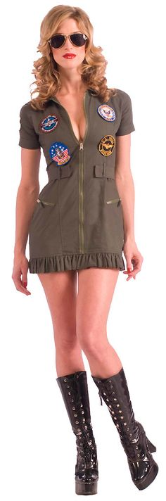 women's Plus Size Top Gun Flight Dress Costume includes a drab army green mini dress featuring five (5) sewn-on patches, zipper front, pocket details and ruffle hemline and aviator glasses featuring gold wire frames and dark tinted lenses. The patches create authenticity with additions including Tom Cat, Top Gun: United States Navy Fighter Weapons School and the American flag. Suit up for success and be on top of your game in a uniform inspired by the 80s hit movie with our sexy