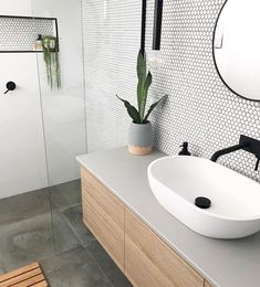 Added a little texture to this ensuite with these beautiful matte penny round tiles . - Added a little texture to this ensuite with these beautiful matte penny round tiles . Bathroom Design Small, Bathroom Interior Design, Bathroom Designs, Bathroom Ideas, Bathroom Inspo, Kitchen Design, Small Bathroom Makeovers, Small Bathroom Tiles, Modern Bathroom Sink