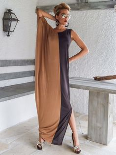 Gray & Taupe Maxi Dress / Gray Taupe Kaftan / Asymmetric Plus Size Dress / Oversize Loose Dress / #35060