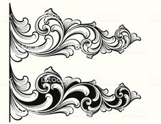 Designed by a hand engraver. - Designed by a hand engraver. Traditional scrollwork engraving designs useful for page accents. Nouveau Tattoo, Filigree Tattoo, Jagua Henna, Ornament Drawing, Shadow Art, Metal Engraving, Art Case, Carving Designs, Filigree Design