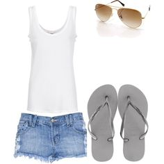 That Perfect Summer Outfit-The white tank top accents Ur tan :) the shorts show your nice legs, and the glasses add for that sexy effect. and loving some cheap flip flops.