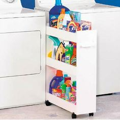 Home Organizing Ideas -- Rolling Laundry Cart designed to keep your laundry supplies out of the way between your washer and dryer