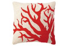 One Kings Lane - All for Nautical - Coral 18x18 Pillow, Red