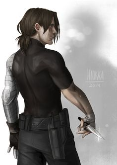 Bucky practicing knife fighting - I SWEAR IF HIS HAIR ISN'T LIKE THIS IN CAP 3 I'LL SCREAM